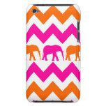 Rayas anaranjadas de Chevron de los elefantes de l iPod Touch Case-Mate Cobertura