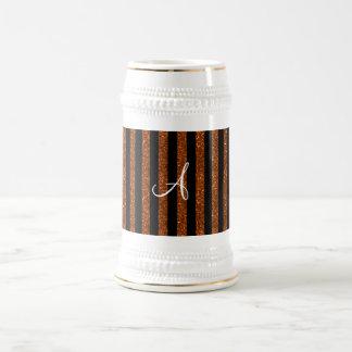 Rayas anaranjadas del brillo del monograma tazas de café