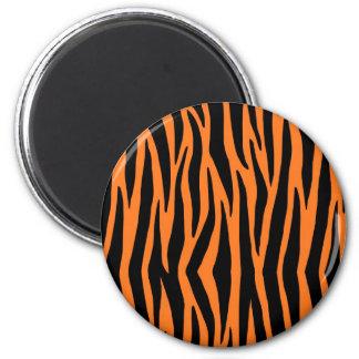 Rayas anaranjadas del tigre/de la cebra imán redondo 5 cm