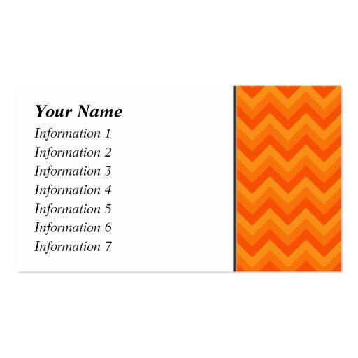 Rayas anaranjadas del zigzag tarjetas de visita