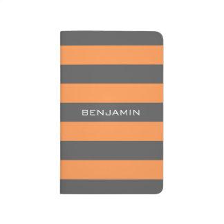 Rayas anaranjadas y grises del rugbi con nombre de cuaderno