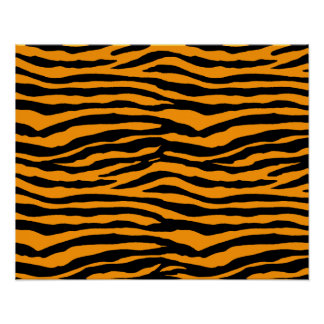 Rayas anaranjadas y negras del tigre póster