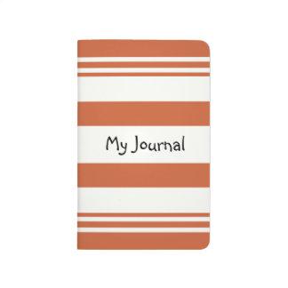 Rayas anaranjado oscuro y blancas cuaderno grapado