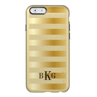 Rayas anchas metálicas modelo y monograma del oro funda para iPhone 6 plus incipio feather shine