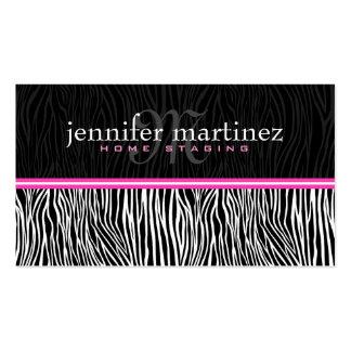 Rayas animales blancas y rosadas negras de la Impr Plantilla De Tarjeta Personal