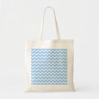 Rayas azul claro y blancas del zigzag bolsa tela barata