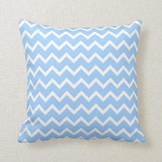 Rayas azul claro y blancas del zigzag cojín