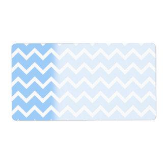 Rayas azul claro y blancas del zigzag etiquetas de envío