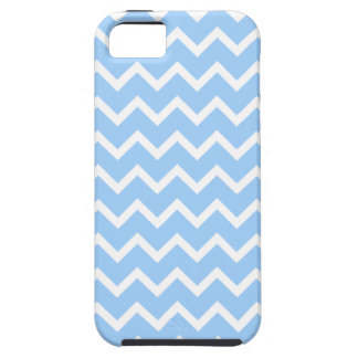 Rayas azul claro y blancas del zigzag iPhone 5 Case-Mate cárcasas