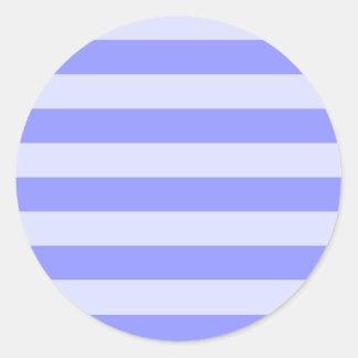 Rayas azules azules y en colores pastel del pegatina redonda