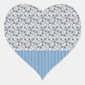 Rayas azules claras con los círculos calcomania corazon