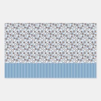 Rayas azules claras con los círculos rectangular pegatina