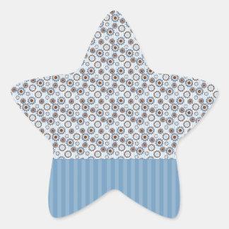 Rayas azules claras con los círculos calcomanías forma de estrellas personalizadas