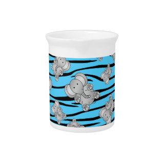 Rayas azules claras de la cebra de los elefantes jarras