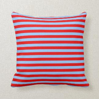 Rayas azules claras y rojas cojines