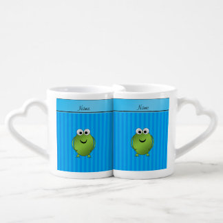 Rayas azules conocidas personalizadas de cielo de tazas para parejas