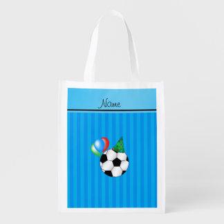 Rayas azules conocidas personalizadas de cielo del bolsas de la compra