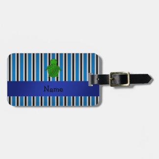 Rayas azules conocidas personalizadas de la etiqueta de equipaje