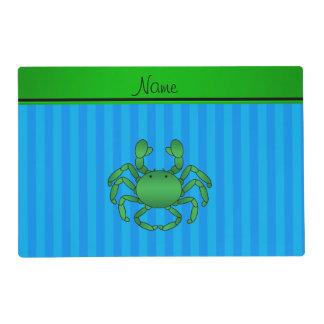 Rayas azules conocidas personalizadas del cangrejo salvamanteles