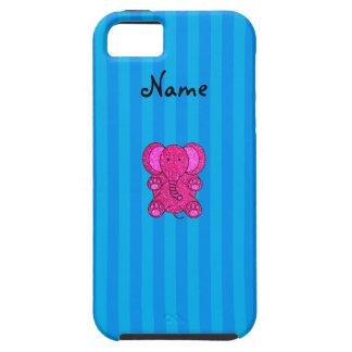 Rayas azules conocidas personalizadas del elefante iPhone 5 cobertura