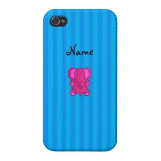 Rayas azules conocidas personalizadas del elefante iPhone 4 protectores