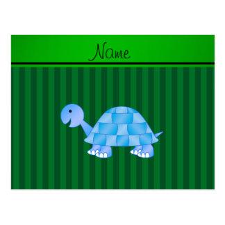 Rayas azules conocidas personalizadas del verde de tarjeta postal