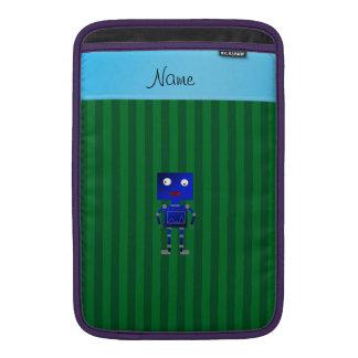 Rayas azules conocidas personalizadas del verde funda macbook air
