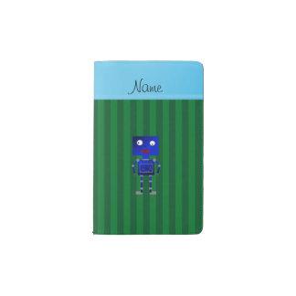 Rayas azules conocidas personalizadas del verde funda para libreta y libreta pequeña moleskine
