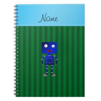 Rayas azules conocidas personalizadas del verde libros de apuntes