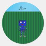 Rayas azules conocidas personalizadas del verde pegatina redonda