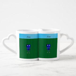 Rayas azules conocidas personalizadas del verde taza para enamorados