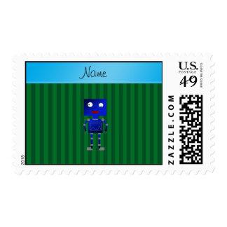 Rayas azules conocidas personalizadas del verde timbre postal