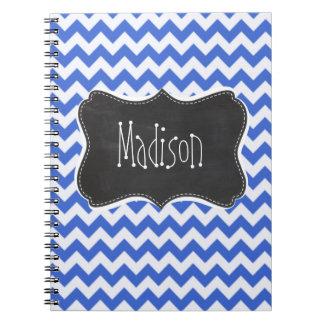 Rayas azules de Han Chevron; Mirada de la pizarra Cuaderno