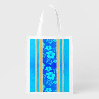Rayas azules de Honu del hibisco Bolsa Para La Compra
