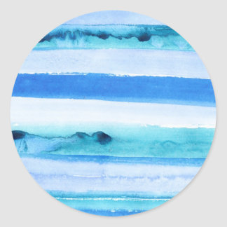 Rayas azules de la acuarela pegatina redonda
