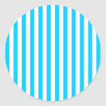 Rayas azules de la aguamarina pegatinas redondas