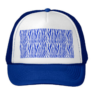 Rayas azules de la cebra gorros bordados