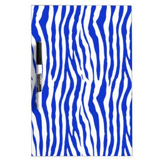 Rayas azules de la cebra tablero blanco