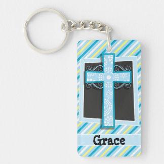 Rayas azules de la cruz, azules y amarillas llavero rectangular acrílico a una cara