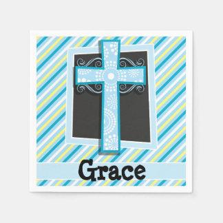 Rayas azules de la cruz, azules y amarillas servilletas desechables