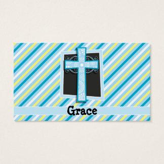 Rayas azules de la cruz, azules y amarillas tarjetas de visita