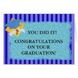 Rayas azules de la graduación fijadas felicitación