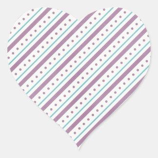 Rayas azules de Lavendar Pegatina En Forma De Corazón