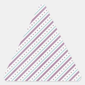 Rayas azules de Lavendar Pegatina Triangular