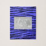 Rayas azules de neón de la cebra del brillo puzzles