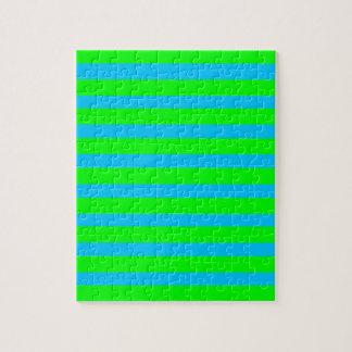 Rayas azules de neón de la verde lima y del trullo puzzle