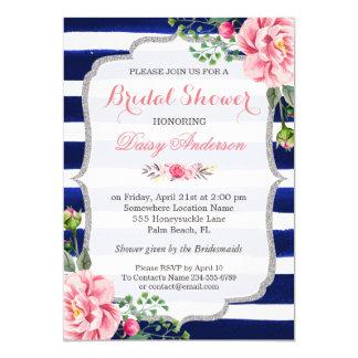 """Rayas azules de plata florales del rosa nupcial de invitación 5"""" x 7"""""""