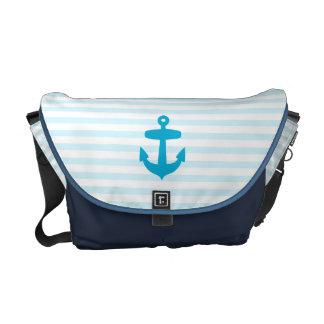 Rayas azules del ancla del mar y del marinero de l bolsas de mensajería