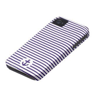 Rayas azules del ancla y del marinero de los azule iPhone 4 Case-Mate carcasas