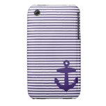 Rayas azules del ancla y del marinero de los azule Case-Mate iPhone 3 funda